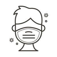 uomo che utilizza l'icona di stile della linea di maschera facciale