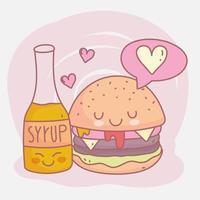 hamburger e sciroppo menu ristorante cibo carino vettore