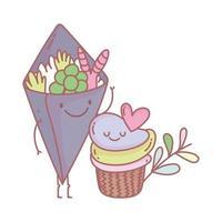 cupcake e menu di insalate ristorante cibo carino