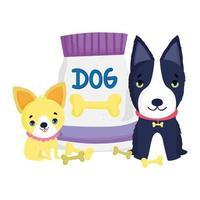 cani con collare e pacco cibo ossa animali domestici dei cartoni animati vettore