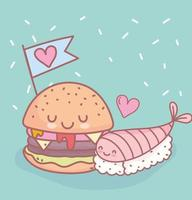 sushi e hamburger con menu amore ristorante cibo carino vettore