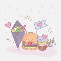 hamburger cupcake e menu di insalate ristorante cibo carino