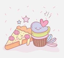 pizza e dolce cupcake dessert menu ristorante cibo carino
