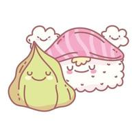 sushi salmone wasabi e menu dei personaggi ristorante cartone animato cibo carino