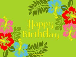 Illustrazione variopinta di buon compleanno di stile polinesiano