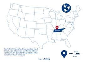 Mappa di vettore delineato evidenziando Nashville Tennessee