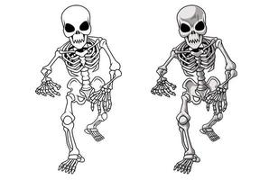 pagina da colorare di scheletro del fumetto per i bambini