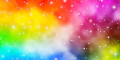 modello vettoriale multicolore chiaro con stelle al neon.