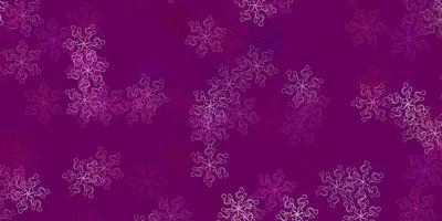 sfondo doodle vettoriale rosa chiaro con fiori.