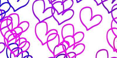 modello di vettore viola chiaro, rosa con cuori di doodle.