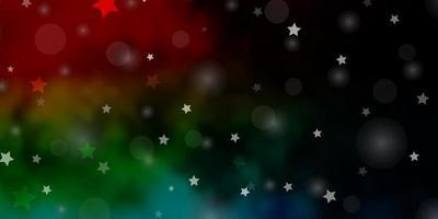 sfondo vettoriale multicolore scuro con cerchi, stelle.