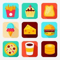 Vettore delle icone di app di cibo