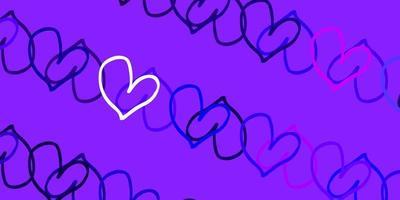 texture vettoriale viola chiaro, rosa con cuori adorabili.