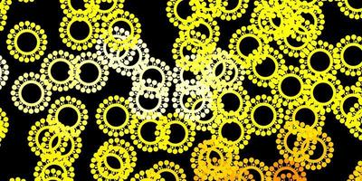 sfondo vettoriale giallo scuro con simboli di virus.