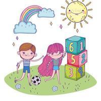 felice festa dei bambini, ragazzo e ragazza con pallone da calcio e blocchi di numeri parco vettore