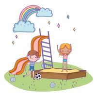 felice giornata dei bambini, ragazzo con pallone da calcio e ragazza nel parco giochi sandbox