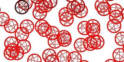 modello vettoriale rosso chiaro con segni esoterici.