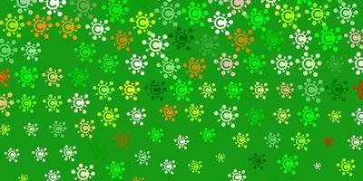 sfondo vettoriale verde chiaro, giallo con simboli covid-19.