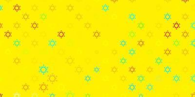 modello vettoriale azzurro e giallo con elementi di coronavirus