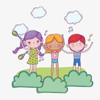 felice festa dei bambini, ragazze carine e ragazzi che cantano e strumenti musicali vettore
