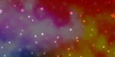 sfondo vettoriale multicolore chiaro con stelle colorate.