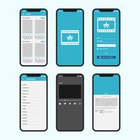 Schermi Gui per app Mobile Movie Online vettore