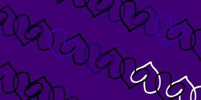 sfondo vettoriale viola chiaro con cuori brillanti.