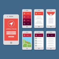 Modello di vettore piatto della GUI per app per dispositivi mobili