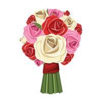 bouquet di fiori disegno vettoriale illustrazione isolato su sfondo bianco