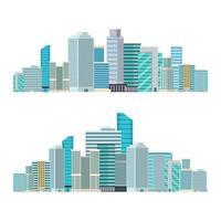 illustrazione di progettazione di vettore delle costruzioni della città del grattacielo isolata su fondo bianco
