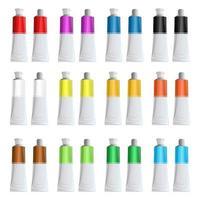 tubi di vernice per la pittura illustrazione disegno vettoriale isolato su sfondo bianco