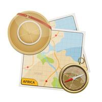 Africa Safari mappa illustrazione disegno vettoriale isolato su sfondo bianco