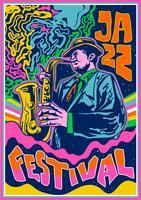 Poster di musica psichedelica Jazz Music vettore