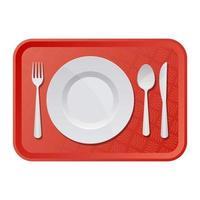 vassoio di plastica con piatto, forchetta e coltello illustrazione vettoriale design isolato su sfondo bianco