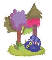 paese delle meraviglie, cartone animato prato pianta alberi gatto vettore
