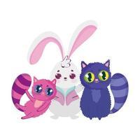 simpatico coniglio e due gatti cartoon character design