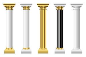colonne antiche disegno vettoriale illustrazione isolato su sfondo bianco