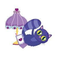 cartone animato di fogliame del telefono della lampada del gatto del cheshire vettore