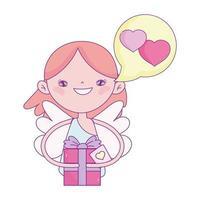 felice giorno di San Valentino, Cupido con cuori di amore di bolla di discorso di confezione regalo vettore