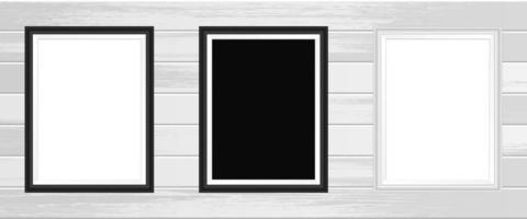 photo frame design illustrazione vettoriale isolato su sfondo di legno