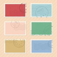 francobolli postali disegno vettoriale illustrazione isolato su sfondo