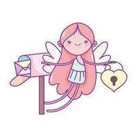 felice giorno di san valentino, cupido con il fumetto della busta della cassetta postale del lucchetto del cuore vettore
