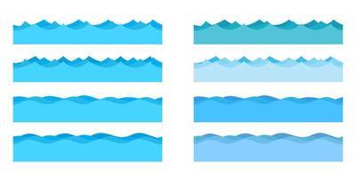 illustrazione di disegno vettoriale di onde del mare isolato su priorità bassa bianca