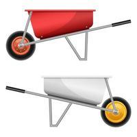 illustrazione realistica di progettazione di vettore della carriola isolata su fondo bianco