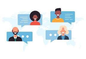 persone nel concetto di comunicazione bolle di chat. vettore