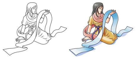 Pagina da colorare di studioso dei cartoni animati per bambini vettore