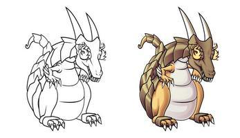 Pagina da colorare di cartoni animati drago di fuoco per bambini vettore
