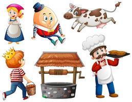 set di fantasia personaggio dei cartoni animati isolato su sfondo bianco vettore