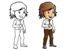 Pagina da colorare di cartoni animati uomo d'affari per i bambini vettore