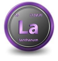 elemento chimico lantanio. simbolo chimico con numero atomico e massa atomica. vettore